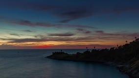 Sunset night sky phuket island beach panorama 4k time lapse thailand stock video footage