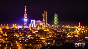 After sunset, night timelapse Batumi cityscape zoom out stock video footage
