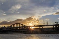 Sunset and night view of MacArthur No. 1 Bridge Stock Photos