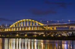 Sunset and night view of MacArthur No. 1 Bridge Stock Image