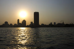 Sunset on the Nile - Cairo city Stock Image