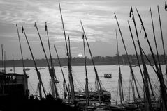 Sunset by the Nile in Luxor. Sunset in Luxor in black and white with sail boats Royalty Free Stock Photo
