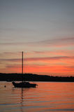 Sunset, Niles Beach. Summer sunset off Niles Beach, Gloucester, MA royalty free stock photography