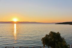 Sunset in Njivice, Croatia Royalty Free Stock Image