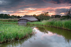 Sunset on the Norfolk Broads Stock Photo
