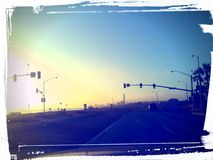 101 sunset. North, driving home powerplant on the horizon Stock Photography
