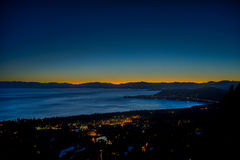 Sunset at North Lake Tahoe. Venus setting over North Lake Nevada. Taken from the overlook on Mt. Rose Highway. The last glow of the sun illuminate the sky stock images
