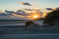 Sunset on the North Sea coast on the island Amrum Stock Photo