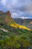 Sunset in North-West mountains of Tenerife near Masca village, C Royalty Free Stock Image