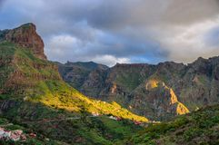 Sunset in North-West mountains of Tenerife near Masca village, C Royalty Free Stock Photos