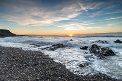 Sunset at Northcott Mouth Beach Stock Photography