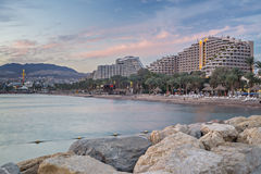 Sunset at the northern beach of Eilat Royalty Free Stock Image
