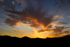 Sunset in northern Chile. A bold sunset in the Atacama desert in Northern Chile Royalty Free Stock Photos