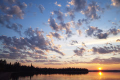 Sunset on a northern lake Royalty Free Stock Photo