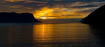 Sunset Norway fjord Geiranger Royalty Free Stock Images