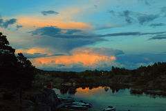 Sunset in Norway. Late summer sunset in Norway caught on camera Royalty Free Stock Image
