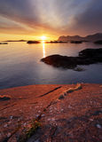 Sunset in Norwegian coast,Senja Royalty Free Stock Photography