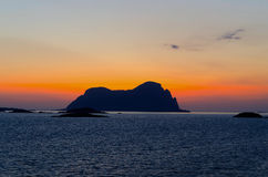 Sunset in norwegian fiords horizontal Stock Photography