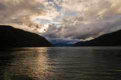 Sunset on  Norwegian fjord Royalty Free Stock Photo