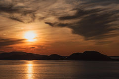 Sunset in Norwegian Sea Royalty Free Stock Images