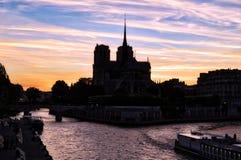 Sunset on Notre Dame de Paris - Paris, France stock photos
