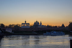 Sunset is in Novgorod Velikiy. Sunset is in Novgorod Kremlin. THIS PICTURE WAS TAKEN FROM the river Volhov Stock Image