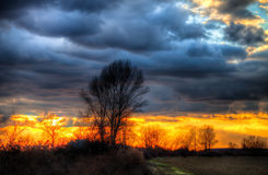 Sunset. NSunset one winter day in Croatian Royalty Free Stock Images