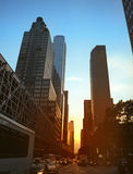 Sunset in NYC. Sunset on the streets of Manhattan, New York City, US Stock Photo