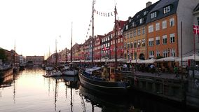 Sunset at Nyhavn, Copenhagen royalty free stock photography