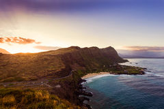 Sunset from Oahu south shore Royalty Free Stock Image
