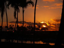 Sunset, Oahu. The sun sets over the Oahu coast Royalty Free Stock Photo