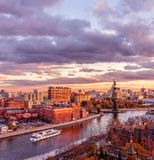 Sunset from the observation deck of the Cathedral of Christ the Savior. View of the monument to Peter I, the Red O royalty free stock photo