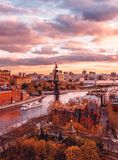 Sunset from the observation deck of the Cathedral of Christ the Savior. View of the monument to Peter I royalty free stock photography