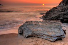 Sunset by the ocean. Lusty beach in Newquay, Cornwall, UK royalty free stock photo