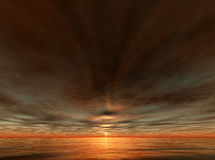 Sunset and ocean. A digital render of sunset with unusual sky royalty free illustration