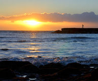 Sunset on a ocean. Royalty Free Stock Photography