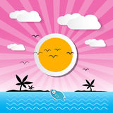 Sunset Ocean Background. With Sun, Palm, Island, Clouds and Fish Stock Image