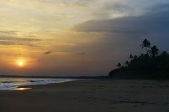 Sunset on ocean coast Stock Photography