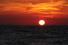 Sunset on the ocean. Leaving the sun over the horizon on the ocean Royalty Free Stock Image