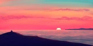 Sunset on the ocean. Lions watching sunset on the ocean / illustration paintin Royalty Free Stock Photos