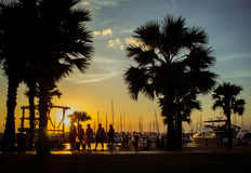 Sunset at  The Ocean Marina- Na Jomtien Thailand Royalty Free Stock Photos