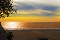 Sunset on the ocean, Santa Monica. Santa Monica Sunset, Los Angeles Royalty Free Stock Images