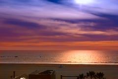 Sunset on the ocean, Santa Monica Royalty Free Stock Photos