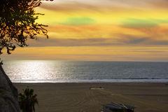 Sunset on the ocean, Santa Monica. Santa Monica Sunset, Los Angeles Royalty Free Stock Photos