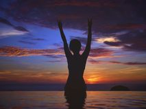 Sunset Ocean Silhouette stock photography