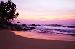 Sunset on the ocean, Sri Lanka beach Stock Image