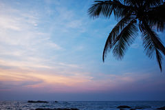 Sunset on the ocean, Sri Lanka beach Royalty Free Stock Photo