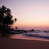 Sunset on the ocean, Sri Lanka beach Royalty Free Stock Photos