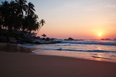 Sunset on the ocean, Sri Lanka beach Stock Photo