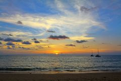 Sunset on the ocean. Thailand, sunset on the ocean, the island of Koh Lanta Stock Photography